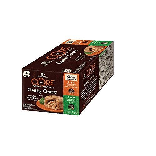 Wellness CORE Chunky Centers, Hundefutter nass getreidefrei, hoher Fleischanteil, Farmer Selection Mix, 4 x 170 g Schalen