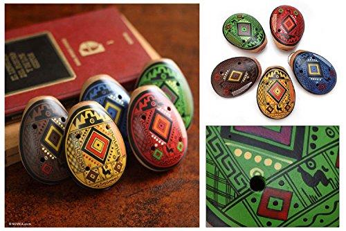 Five Hand Painted Ocarina Whistle Set Fair Trade-Peru Sanyork (TM)