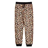 Amy Byer Girls' Pull-on Joggers Sweatpants, Brown/Black Heathered Cheetah Fur, X-Large