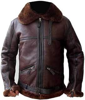KAAZEE Men's Aviator RAF B3 Bomber Sheepskin Fur Leather Jacket