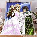 Hot Anime Blanket Sword Art Online Fleece Double Layer Blanket HD Printing Gentle Throw Blankets Queen Size Muslin Beding Halloween Decoration for Bed Bedroom (Size : XS-100X150CM)