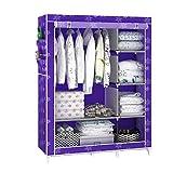 Armario simple y moderno de tela de tela para armario, tubo de montaje de acero reforzado con marco de acero para armario (color: H)