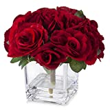Enova Home Velvet Rose Flower Arrangement in Cube Glass Vase with Faux Water for Home Office Decoration (Red)