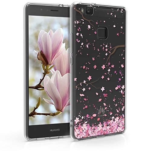 kwmobile Funda Compatible con Huawei P9 Lite - Carcasa de TPU y Flores Cerezo cayendo en Rosa Claro/marrón Oscuro/Transparente
