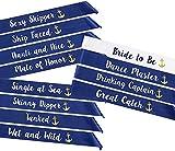 STAY GENT 12 Bandas Despedida Soltera Novia a ser Sash and Bride Tribe Fajas - Decoración de Fiesta de Gallina Noche Despedida de Soltero Noches de Gallina Equipo de Novias, Azul y Blanco