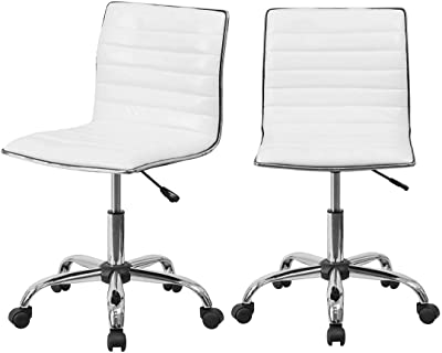 Office Computer Chair White Low-Back PU Surface Comfort Height Adjustable
