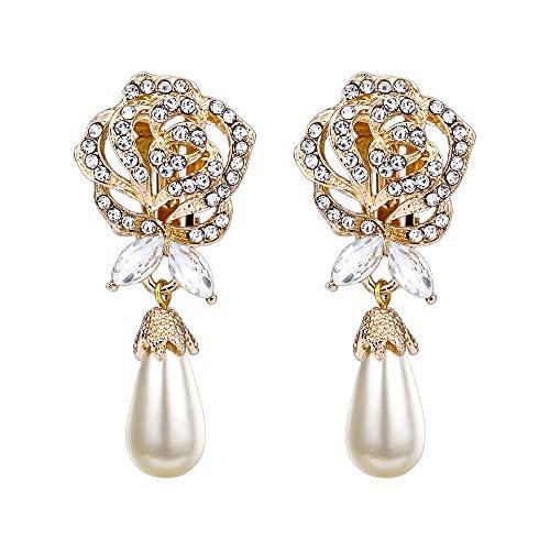 EVER FAITH Austrian Crystal Simulated Pearl Rose Flower Teardrop Clip-on Earrings Clear Gold-Tone