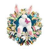 XUJY ERTG Easter Wreaths Osterkränze, Easter Garland Bunny Butt Garland, Easter Decoration for Front Door Decorations,Spring Wreath Thief Rabbit Wreath Easter Bunny Decor Easter Decorations