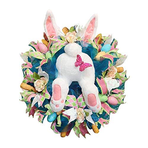 Guirnalda de conejo de ladrón de Pascua con orejas, forma de conejo de dibujos animados, linda guirnalda de adornos, para el día de Pascua, pared, puerta delantera, decoración del hogar