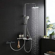 Lonheo Set doccia Nero, Sistema Doccia Quadrato Con Soffione a Pioggia e 3 Getti Doccetta, Per Doccia e Vasca Da Bagno