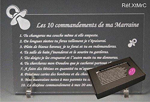 Les 10 commandements de MARRAINE - Tototte texte Comique - Cadeau Baptême & Communion