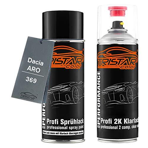 TRISTARcolor Autolack 2K Spraydosen Set für ARO/Dacia 369 Blanc Glacier/ALB Alpin White Basislack 2 Komponenten Klarlack Sprühdose