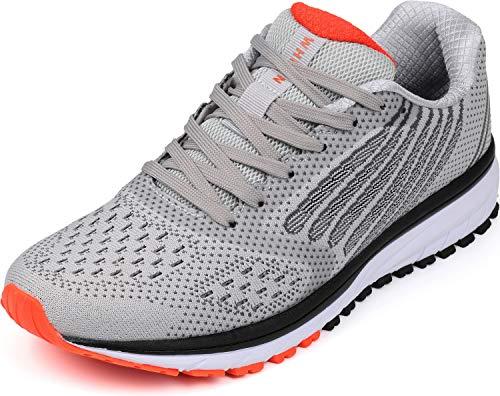 WHITIN Unisex Sportschuhe Damen Herren Turnschuhe Laufschuhe Sneakers Männer Walkingschuhe Gymnastikschuhe Modisch Bequem Joggingschuhe Fitness Schuhe Hellgrau Größe 42