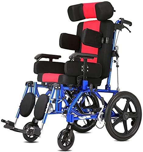 LHGXQ-Dp Leichter Klappbarer Hemiplegiker-Rollstuhl, Verstellbarer Winkel-Voll Liegewagen, Multifunktionaler Pflegerollstuhl Zerebralparese Für Erwachsene Kinder,Black red,Children