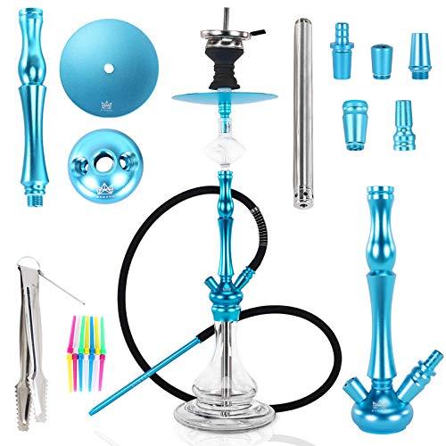 Ryosee® Shisha-Set, mit allem Rauchzubehör, 2 Schlauch-Shisha-Rauchzubehör, Rauchrohr aus Aluminium, 2 Adapter 78 cm hoch, komplettes Shisha-Kit, Huka Tong (blau)