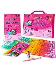 Mimtom Teken Stencils Set voor Kinderen en meisjes | 51-delige Arts and Crafts Stencil Kit met meer dan 270 vormen om de creatieve geest van uw kind te ontwikkelen | Kinderveilig, educatief activiteit speelgoed voor kinderen vanaf 4 jaar