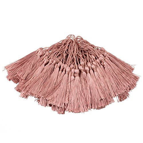 100pcs 13cm/5 Inch Silky Floss Bookmark Tassels with 2-Inch Cord Loop and Small Chinese Knot for Jewelry Making, Souvenir, Bookmarks, DIY Craft Accessory (Peel Powder)
