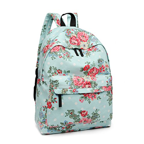 Kono Women Casual Daypack Backpack for Teenagers Students Girls Rucksack All-Over Flowers Polka Dots Printed Canvas School Bag Bookbag with Front Pocket (Light Blue)