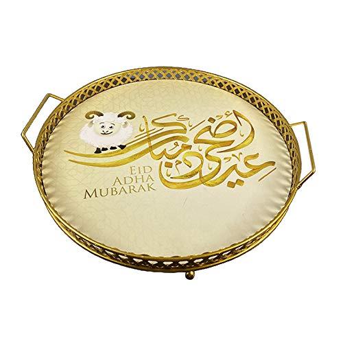 Generic Ramadan Eid Eisen Runden Tablett Kaffee Trinken Tee Keks Dessert Obst Tablett mit Griff Multiuse Arbeitsplatte Küche Veranstalter Halter - Y-1A