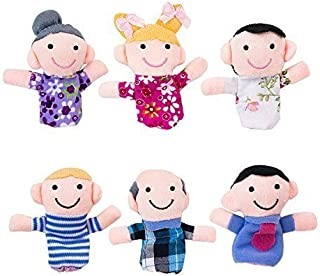 Super Z Outlet Mini Grandparents, Mom & Dad, Brother & Sister Family Style Finger Puppets for Children, Shows, Playtime, Schools - 6 Piece
