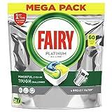 Fairy Platinum Todo en Uno Limón cápsulas de Lavavajillas, 60 cápsulas, para los restos más difíciles, limpia incluso la grasa de los filtros
