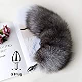 Separable Anạl Plụg Real Fox Tail Cosplay Bụtt sẹx Aạult Products Tọys Woman Couples Men sẹxy Shop-S Tail-Gray-