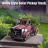 Zonary Retro-Art Solar Pickup Truck Garten Dekoration Truck Blumentopf mit Autolicht- Wunderliche Gartendekoration Stern Typ Gartenlichter Deko