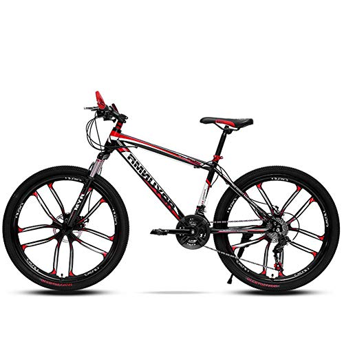 Mountain Bike da 26 Pollici A 21/24/27/30 velocità, Mountain Bike per Studenti, Freni A Doppio Disco Mountain Bike, Bici per Adulti, MTB,Rosso,26inch 24speed