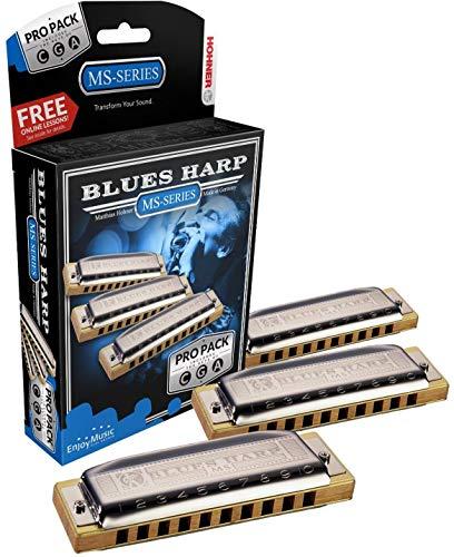 Hohner 3P532BX MS System Blues Harp Pro Harmonica - 3-Pack
