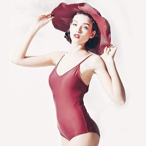 ZXCC Slinged Halter Triangle Maillot de Bain 1 Pièce Femme, Ventre Couvert Style Classique (Couleur  Rouge) (Couleur   rouge, Taille   S)