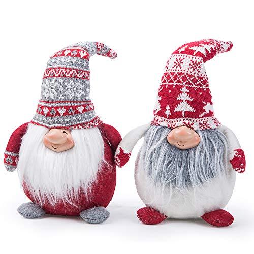 Ogrmar Set of 2 Handmade Christmas Gnomes Plush Swedish Tomte Santa Figurine Christmas Scandinavian Tomte Elf Decoration Ornaments for Christmas Home Decor