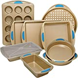 Perlli 10-Piece Nonstick Carbon Steel Bakeware Set with Baking Pans, Baking Sheets, Cookie Sheets, Muffin Pan, Bread Pan and Cake Pan with Cover, Luxurious Gold with Steel Blue Silicone Grip Handles