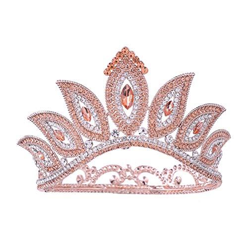 Corona redonda Tiara barroca Estilo de ojo mágico Corona de cabello Diamante...