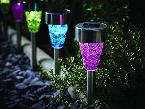 6x LED Solarleuchte Mosaik Solarlampe Garten aus Edelstahl mit Lichtsensor und Erdspiess - Solar Garten Beleuchtung buntstrahlende weiße 360 ° LED - Mosaik Glas 3 Farben