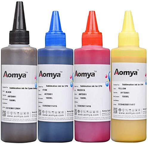 Aomya Tinta de sublimación para C88 C88 + CX3810 CX4200 WF7610 WF7010 WF7710 Impresión en placas de poliéster, tazas,almohadas, etc.