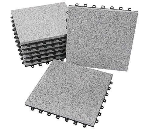 BodenMax LLGRA001-GRY-5 Piastrelle in granito per terrazze, giardini, balconi, piscine, saune, interni ed esterni. Granito grigio. Set di 8 piastrelle in granito di 30 cm x 30 cm x 2,5 cm.