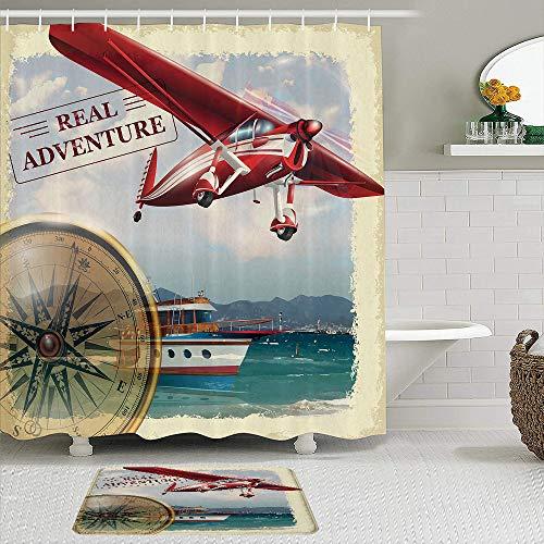 KENADVI Duschvorhang, Real Adventure Quote mit Coastline & einem Red Airplane Journey Travel Themed, 2-teiliges Set mit Haken, wasserdichtes Badezimmerdekor aus Polyestergewebe
