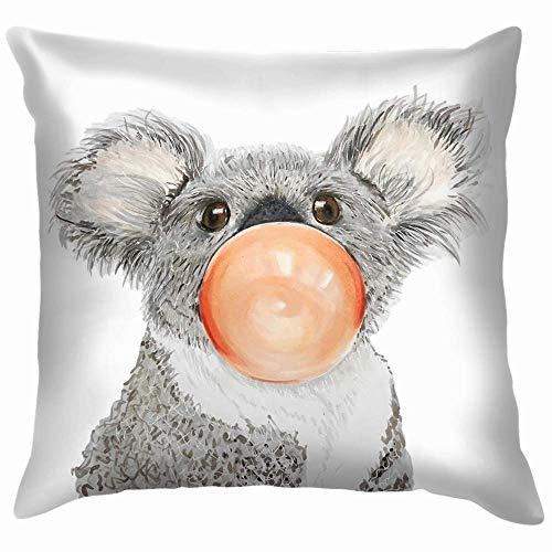 GWrix sofakussensloop, sofa, kussensloop, portret, handgeschilderd, Koala Bubblegum, geïsoleerd, dierenvoer en dranken, ritssluiting, kussenhoes, vierkant, 45 x 45 cm