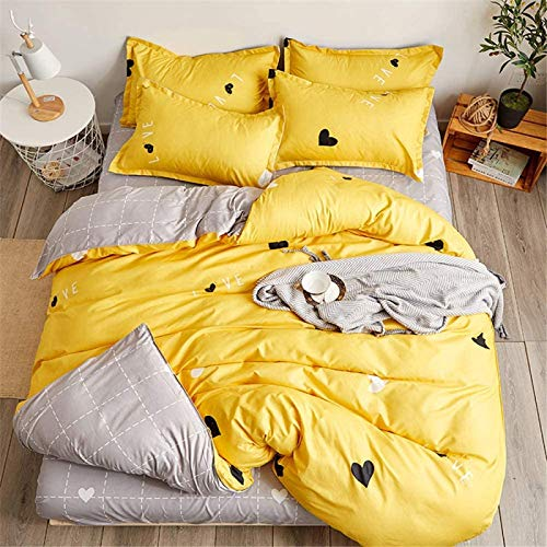 TDMMSDD 4-Piece Bedding Set, Microfiber Quilt Cover, Including 1 Quilt Cover And 1 Bed Sheet And 2 Pillow Cases (Bed 150/160-220X240Cm / 2.2M, Sweet Couple)