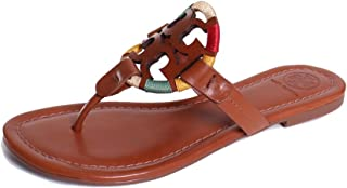 c9eae58cbd FREE Shipping on eligible orders. Tory Burch Miller Leather Embroidered  Embellished Sandals in Vintage Vachetta Multi Size 11