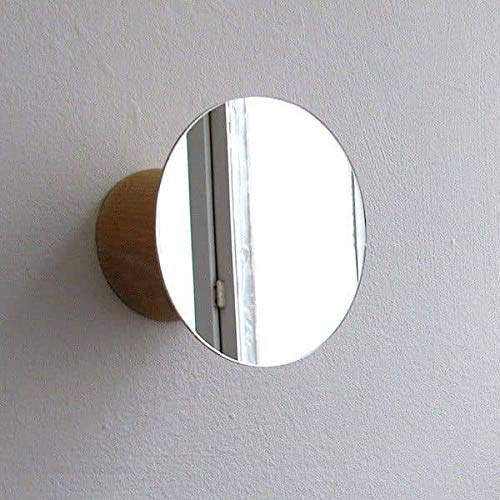 Bolet, patère et Miroir, hêtre Massif et Verre, Design éco-Responsable - Petit modèle, Ø 92/82 x 55 mm (Profondeur)