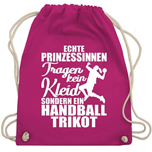 Handball Geschenk für Handballer - Echte Prinzessinnen tragen kein Kleid sondern ein Handball Trikot - weiß - Unisize - Fuchsia - Handball - WM110 - Turnbeutel und Stoffbeutel aus Baumwolle