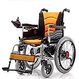 Chair Sedia a rotelle elettrica Pieghevole con Doppio Motore con 2 batterie Fino a 15 km di Distanza Sedia a rotelle Leggera Portatile sicura e Facile da Guidare,Yellow