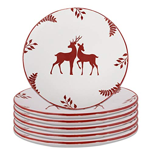 Set of 6 Hand Finished Stag Print Stoneware Dinner Plates