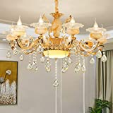 Panghuhu88 Crystal Classic Chandelier Modern Contemporary Chandelier European Ceiling Pendant Lights for Dining Room Living Room Hotel, E12 Bulbs Required (10 Bulb)
