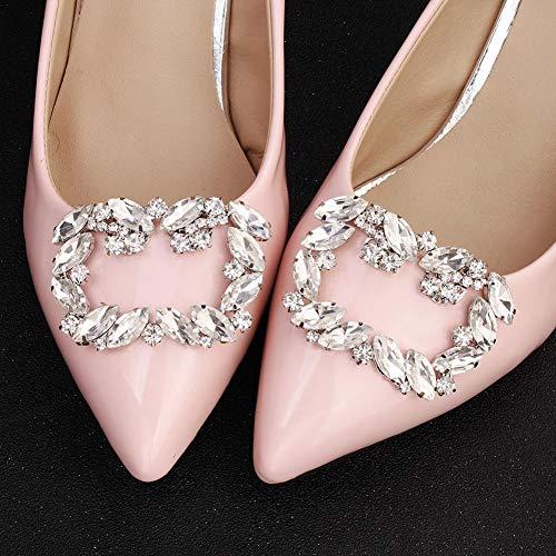 Accesorios de Hebilla de Zapatos Clips de Metal de Cristal de Diamantes de imitación Elegantes para Zapatos Nupciales Banquete de Boda