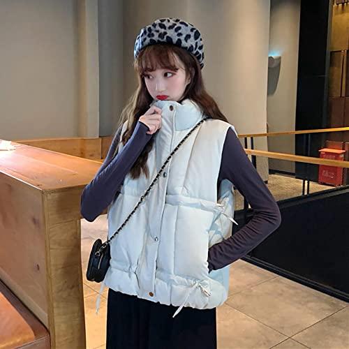 Chaleco cálido Abrigo De Cuello Alto Chaqueta De Algodón Chaleco Otoño Invierno Diseño Elegante Coreano Sense Cordón Sin Mangas Chaleco De Mujer XL Blanco