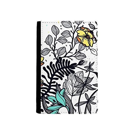 beatChong Moderne Kunst Camellia Blumen Pflanzen Zeichnung Pass-Halter-Reise-Brieftasche Abdeckungs-Fall Karten-Geldbeutel