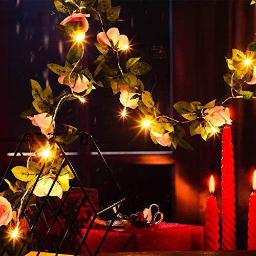 15 Feet LED Fake Rose Vine Garlands with Lights,Valentine's Artificial Flowers Garland Hangings with 9.8 Feet Waterproof String Lights for Wedding Party Garden Ceremony Outdoor Arch Floral Decor