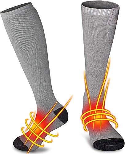 QYWSJ Chaussettes Chauffantes Électriques, Chaussettes Thermiques Rechargeables USB, Bas Thermiques Chauffants à Piles pour Hommes Et Femmes,Équipement Chauffant pour Pieds,Randonnée,Ski